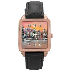 jane s Winter Sunset   By Ave Hurley Of Artrevu   Rose Gold Leather Watch  by ArtRave2