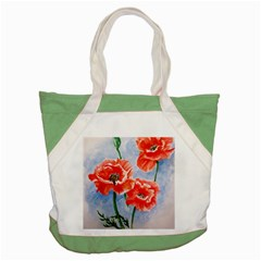 Poppies Accent Tote Bag by ArtByThree