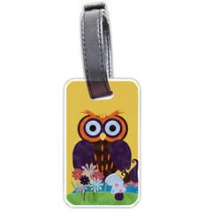 Owl Tag By Cherish Collages   Luggage Tag (two Sides)   Qopxouxb40x8   Www Artscow Com Front