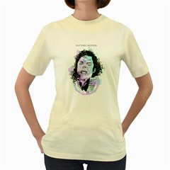 King of Pop  Womens  T-shirt (Yellow) by Contest1810159