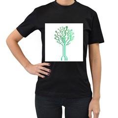 Digital Tree Womens' Two Sided T Shirt (black)