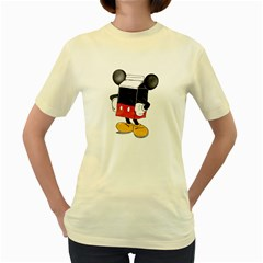 Milky Mouse  Womens  T Shirt (yellow)