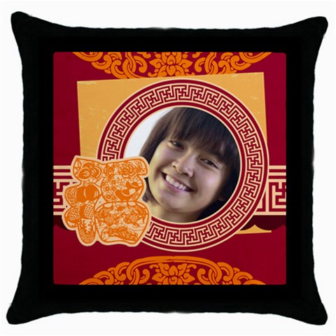 Chinese New Year By Ch   Throw Pillow Case (black)   J7kk2y7y7n2o   Www Artscow Com Front