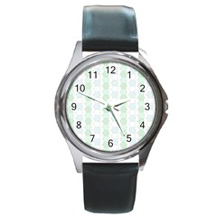 Allover Graphic Soft Aqua Round Leather Watch (silver Rim) by ImpressiveMoments