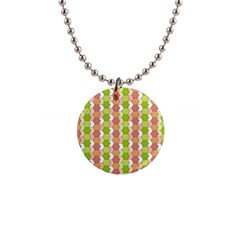 Allover Graphic Red Green Button Necklace by ImpressiveMoments
