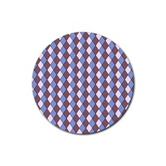 Allover Graphic Blue Brown Drink Coasters 4 Pack (Round)