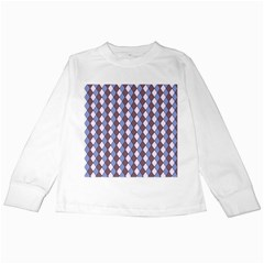 Allover Graphic Blue Brown Kids Long Sleeve T Shirt