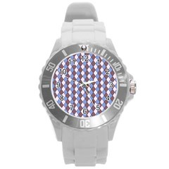 Allover Graphic Blue Brown Plastic Sport Watch (large) by ImpressiveMoments