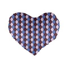Allover Graphic Blue Brown 16  Premium Heart Shape Cushion  by ImpressiveMoments