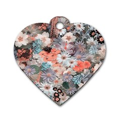 Spring Flowers Dog Tag Heart (one Sided)  by ImpressiveMoments