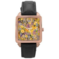 Spring Flowers Effect Rose Gold Leather Watch  by ImpressiveMoments