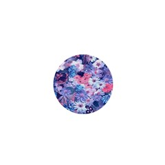 Spring Flowers Blue 1  Mini Button by ImpressiveMoments