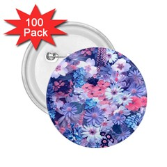 Spring Flowers Blue 2 25  Button (100 Pack) by ImpressiveMoments