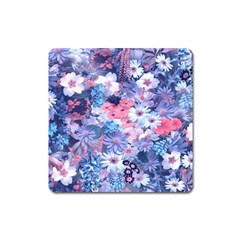 Spring Flowers Blue Magnet (square) by ImpressiveMoments