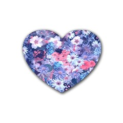 Spring Flowers Blue Drink Coasters (heart) by ImpressiveMoments