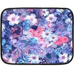 Spring Flowers Blue Mini Fleece Blanket (two Sided) by ImpressiveMoments