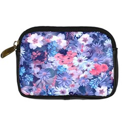Spring Flowers Blue Digital Camera Leather Case by ImpressiveMoments