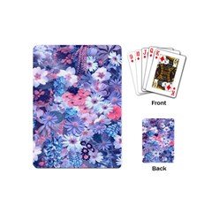 Spring Flowers Blue Playing Cards (mini) by ImpressiveMoments