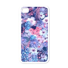 Spring Flowers Blue Apple Iphone 4 Case (white) by ImpressiveMoments