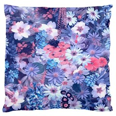 Spring Flowers Blue Large Cushion Case (single Sided)  by ImpressiveMoments