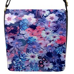 Spring Flowers Blue Flap Closure Messenger Bag (small) by ImpressiveMoments