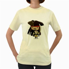 Captain Sparrow  Womens  T Shirt (yellow)