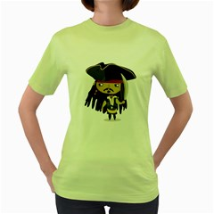 Captain Sparrow Womens  T Shirt (green)
