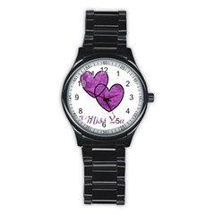 I Miss You Sport Metal Watch (black) by WonderfulDreamPicture