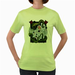 Octopus Attack Womens  T Shirt (green) by Contest1821262