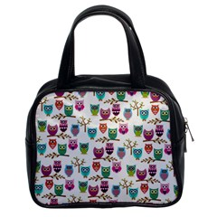 Happy Owls Classic Handbag (two Sides) by Ancello