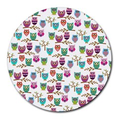 Happy Owls 8  Mouse Pad (round)