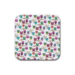 Happy Owls Drink Coaster (square) by Ancello