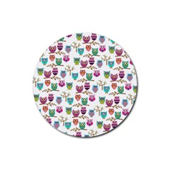 Happy Owls Drink Coaster (round) by Ancello