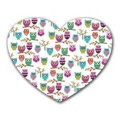 Happy Owls Mouse Pad (heart) by Ancello