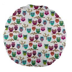 Happy Owls 18  Premium Round Cushion  by Ancello