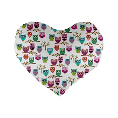 Happy Owls 16  Premium Heart Shape Cushion
