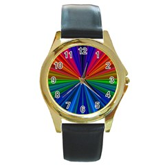 Design Round Leather Watch (gold Rim)  by Siebenhuehner