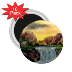 Brentons Waterfall   Ave Hurley   Artrave   2 25  Button Magnet (10 Pack) by ArtRave2