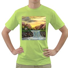 Brentons Waterfall   Ave Hurley   Artrave   Mens  T Shirt (green) by ArtRave2