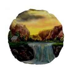 Brentons Waterfall   Ave Hurley   Artrave   15  Premium Round Cushion  by ArtRave2
