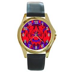 Abstract Round Leather Watch (gold Rim)  by Siebenhuehner