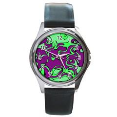 Abstract Round Leather Watch (silver Rim) by Siebenhuehner