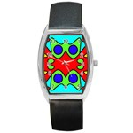 Abstract Tonneau Leather Watch Front