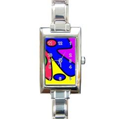 Abstract Rectangular Italian Charm Watch by Siebenhuehner