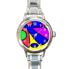 Abstract Round Italian Charm Watch by Siebenhuehner