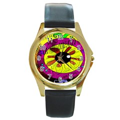 Abstract Round Leather Watch (gold Rim)  by Siebenhuehner