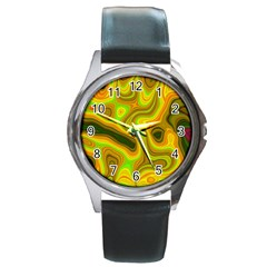 Abstract Round Leather Watch (silver Rim) by Siebenhuehner