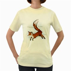 Riding the great red fox  Womens  T-shirt (Yellow) by Contest1807839