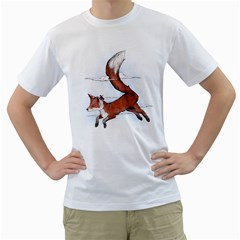 Riding The Great Red Fox Mens  T Shirt (white) by Contest1807839