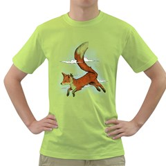Riding the great red fox Mens  T-shirt (Green) by Contest1807839